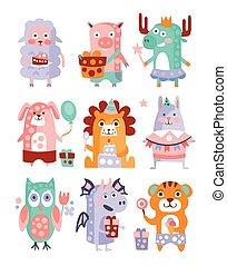 Stylized Funky Animals Birthday Party Sticker Set
