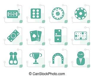 Stylized gambling and casino Icons