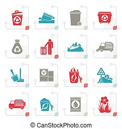 Stylized Garbage and rubbish icons - vector icon set