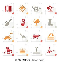 Stylized Gardening tools and objects icons