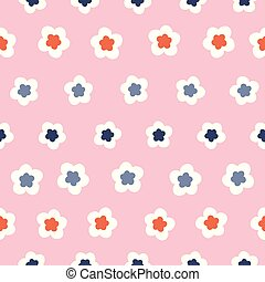 Stylized geometric flower pattern. A pretty floral vector design background.