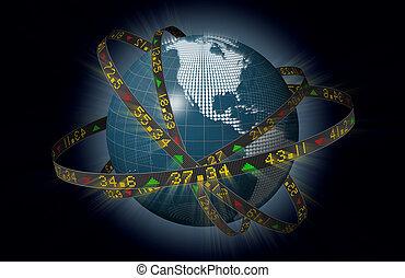 Stylized globe with stock tickers