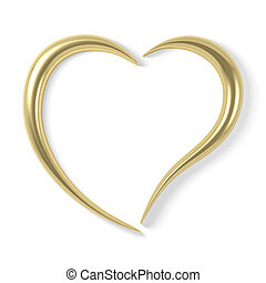 stylized gold heart - Stylized gold heart, isolated on white...