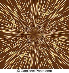 Stylized golden fireworks, light burst with the center in...
