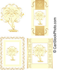 Stylized golden tree for design