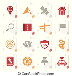 Stylized Gps, navigation and road icons