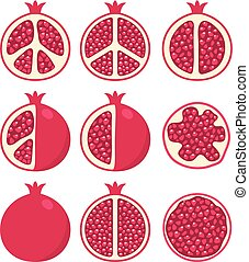 stylized, granaatappels, vector, set