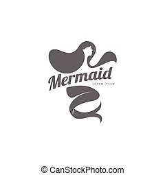 Stylized graphic logo template with long haired mermaid turned profile