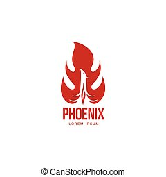 Stylized graphic phoenix bird resurrecting in flame logo template