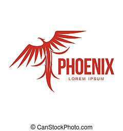 Stylized graphic phoenix bird resurrecting in flame logo template