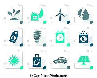 Stylized Green and Environment Icons