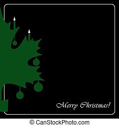 stylized green Christmas maple leaf card