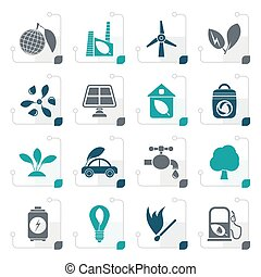 Stylized Green, Environment and ecology Icons