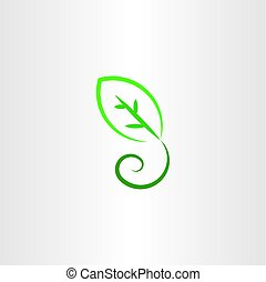 stylized green leaf vector icon illustration