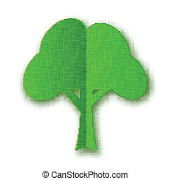 Stylized green paper tree with shadow