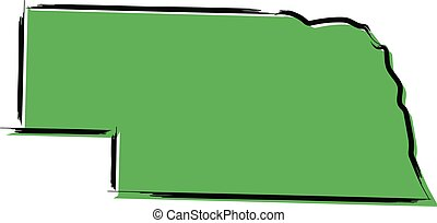 Stylized green sketch map of Nebraska illustration vector