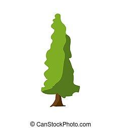 Stylized green tree. Cartoon Vector illustration