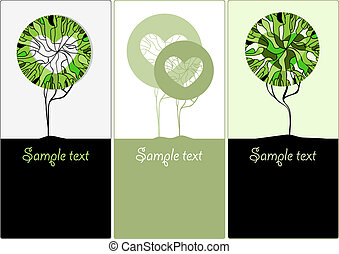 Stylized green trees for design. Vector illustration
