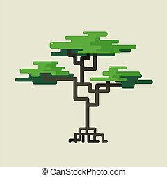 stylized, groene, geometrisch ontwerp, bomen