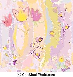 stylized, grunge, kleurrijke, model, bevlekte, seamless, schetsen, watercolor, achtergrond, tulpen