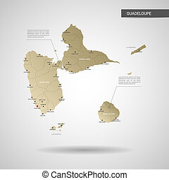 Stylized Guadeloupe map vector illustration.