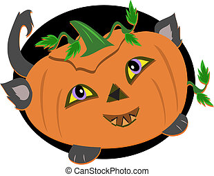 Stylized Halloween Pumpkin Cat