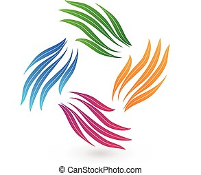 Stylized hands teamwork colorful vector image design logo