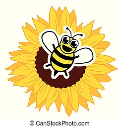 Stylized happy bee and sunflower
