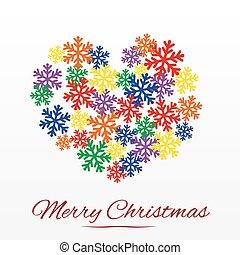stylized, hart, kerstmis kaart