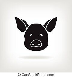 Stylized head of a pig on a light background. Logo design for the company.