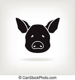 Stylized head of a pig on light background. - Stylized head...