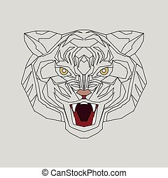 The tiger growls. Structural image.