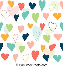 Stylized heart seamless pattern. White isolated  background, wall paper.