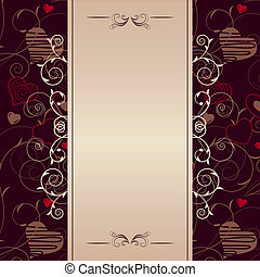 Stylized hearts on romantic dark ornate frame