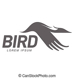 Stylized heron, crane, stork silhouette logo template