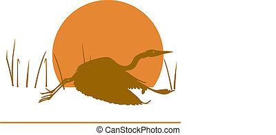 Stylized Heron - Heron in  Flight