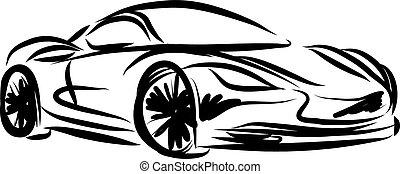 stylized, het snelen auto, illustratie