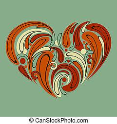 stylized, hjerte, vektor