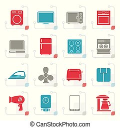 Stylized home appliance icons