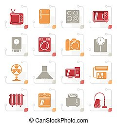 Stylized home appliances and electronics icons