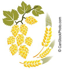 hop and wheat - Stylized hop and wheat isolated on a white...
