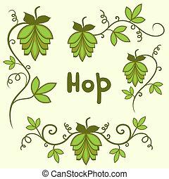 Stylized hops set - Stylized green hops set vector, isolated...