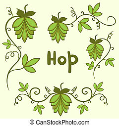 Stylized hops set - Stylized green hops set vector, isolated...