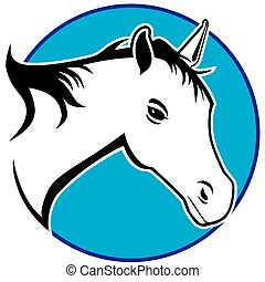 Stylized Horse - A stylized horse inside a blue circular...