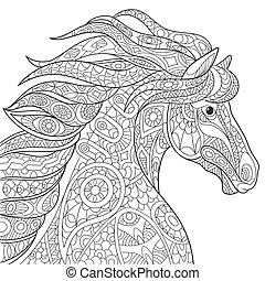 Stylized horse animal - Stylized cartoon horse (mustang),...
