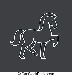 Stylized horse icon - Stylized horse silhouette. Line icon...