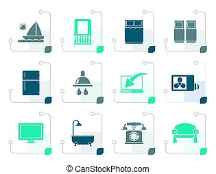 Stylized Hotel and motel room facilities icons