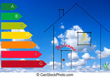 energy consumption - stylized house certified energy...