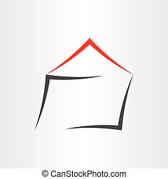 stylized house home icon grey red realestate building