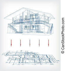 Stylized house model  with floor plan. Vector